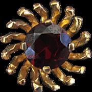 English 9K Yellow Gold Garnet Earrings