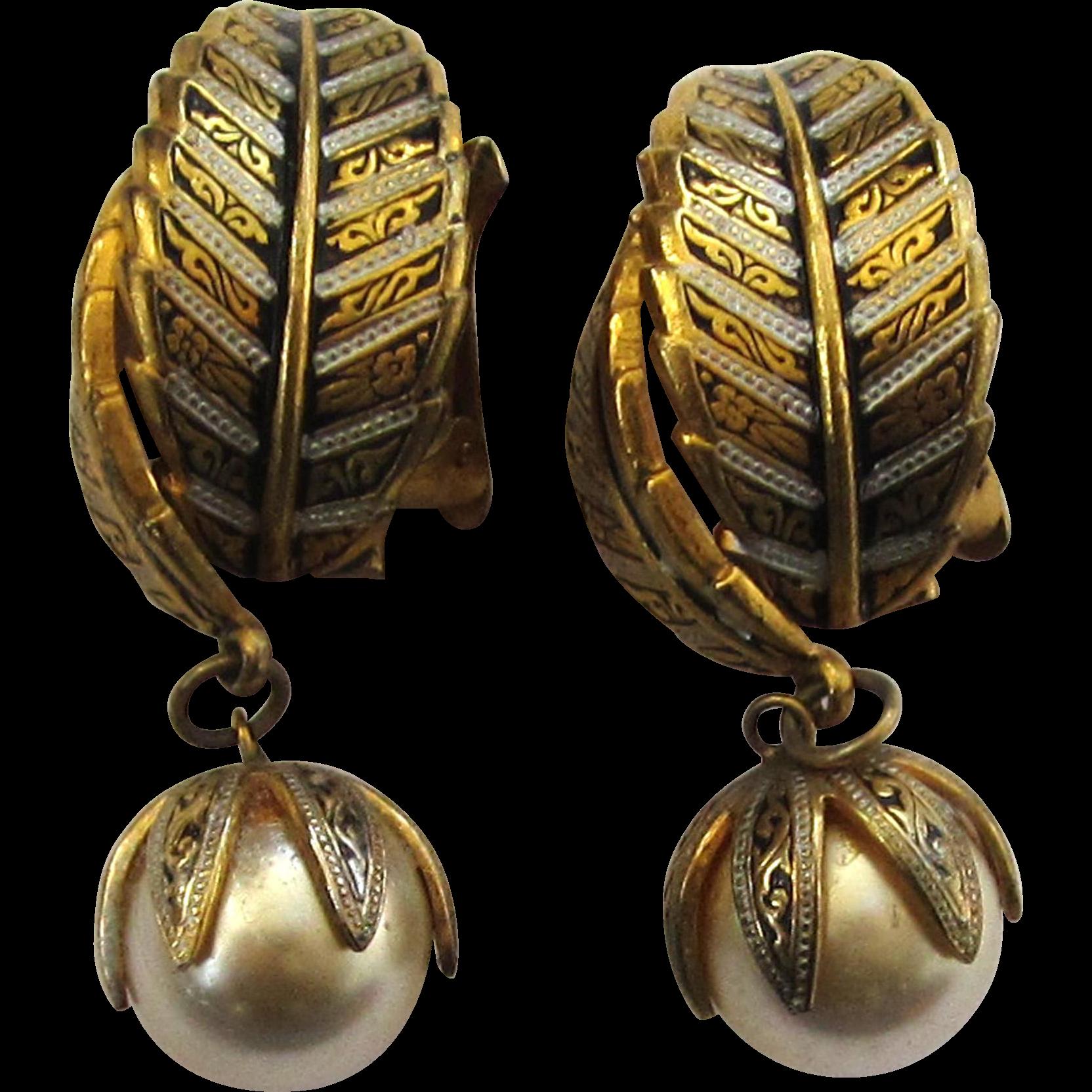 Faux Pearl Leaf Earrings
