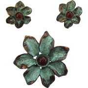 Copper Verdigris Floral Brooch/Pin and Earrings Set