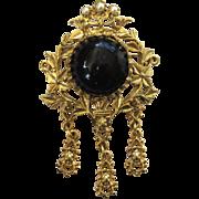 Black Glass Faux Pearl Fancy Floral Brooch/Pin