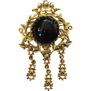 Black Glass Faux Pearl Fancy Floral Brooch/Pin