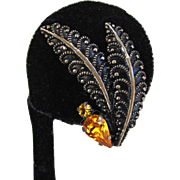 Blackened Silver-tone Feather Rhinestone Earrings