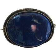 Victorian Sterling Silver Lapis Brooch/Pin
