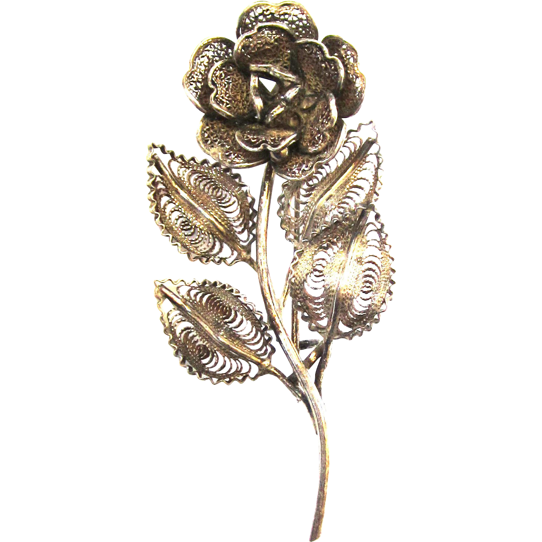 Filigree 800 Silver Floral Brooch/Pin