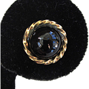 English 9K Yellow Gold Onyx Cabochon Earrings