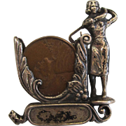 Sterling Silver Lucky Penny Golf Trophy Brooch/Pin