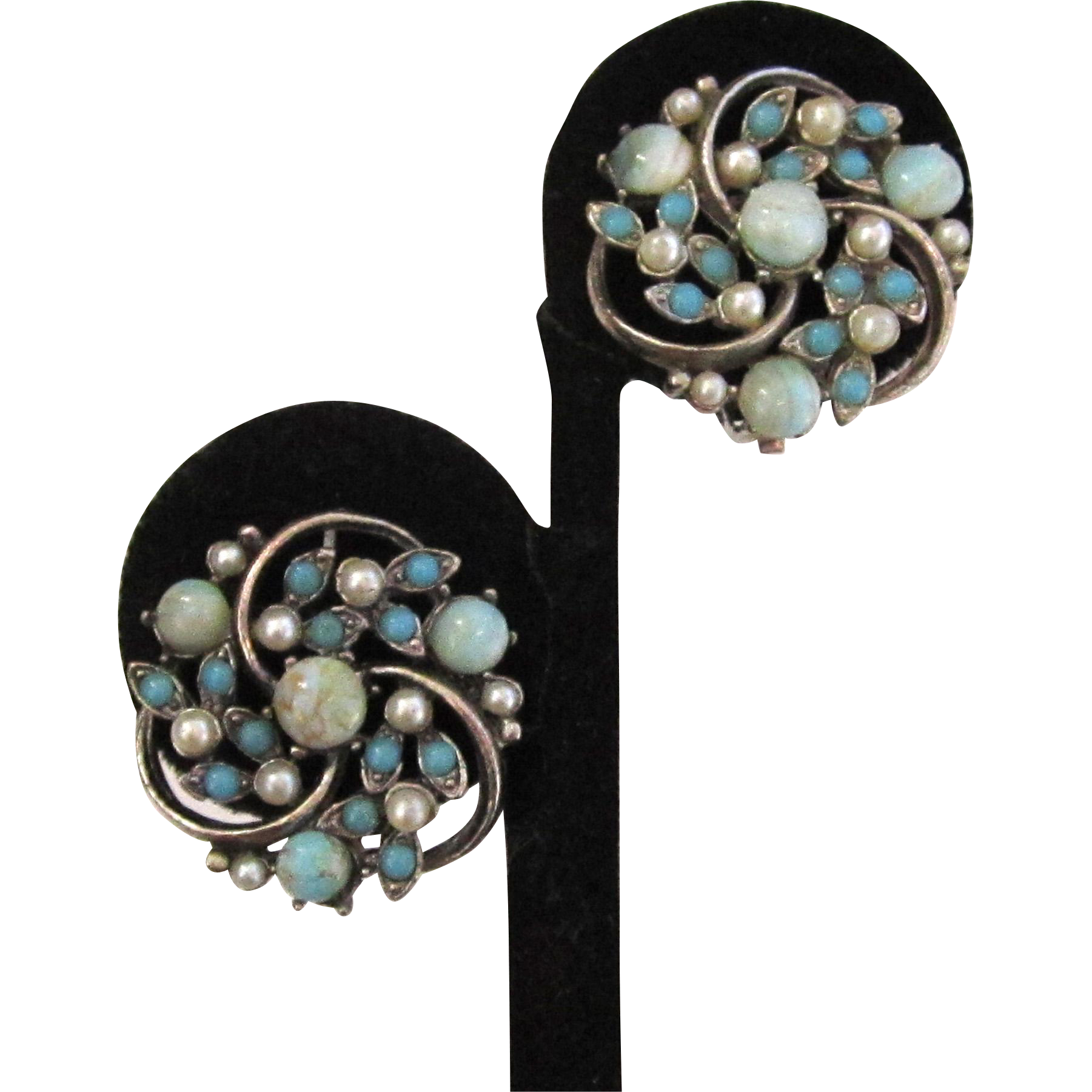 Faux Pearl Art Glass Silver-Tone Swirled Earrings