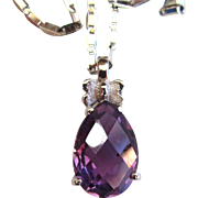 18K White Gold Amethyst Pendant/Necklace