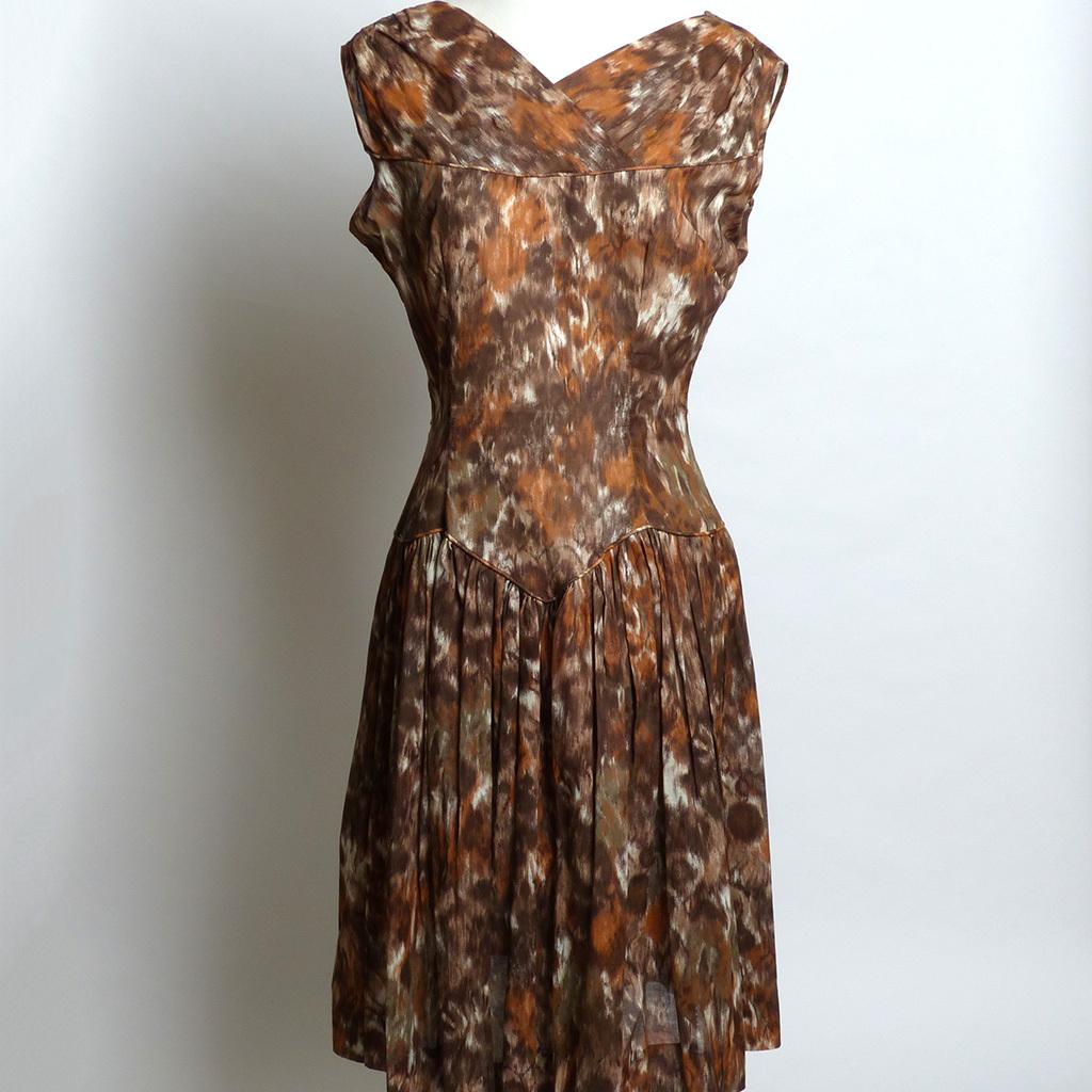 Circa 1950s Mode O'Day Brown Floral Dress