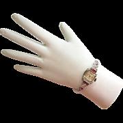 Circa 1940s 14K White Gold Diamond, Ruby Bulova Excellency Watch