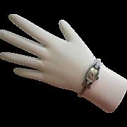 Art Deco Bulova 14K White Gold Diamond and Emerald Watch