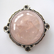 Sterling Silver and Rose Quartz Floral Brooch/Pin