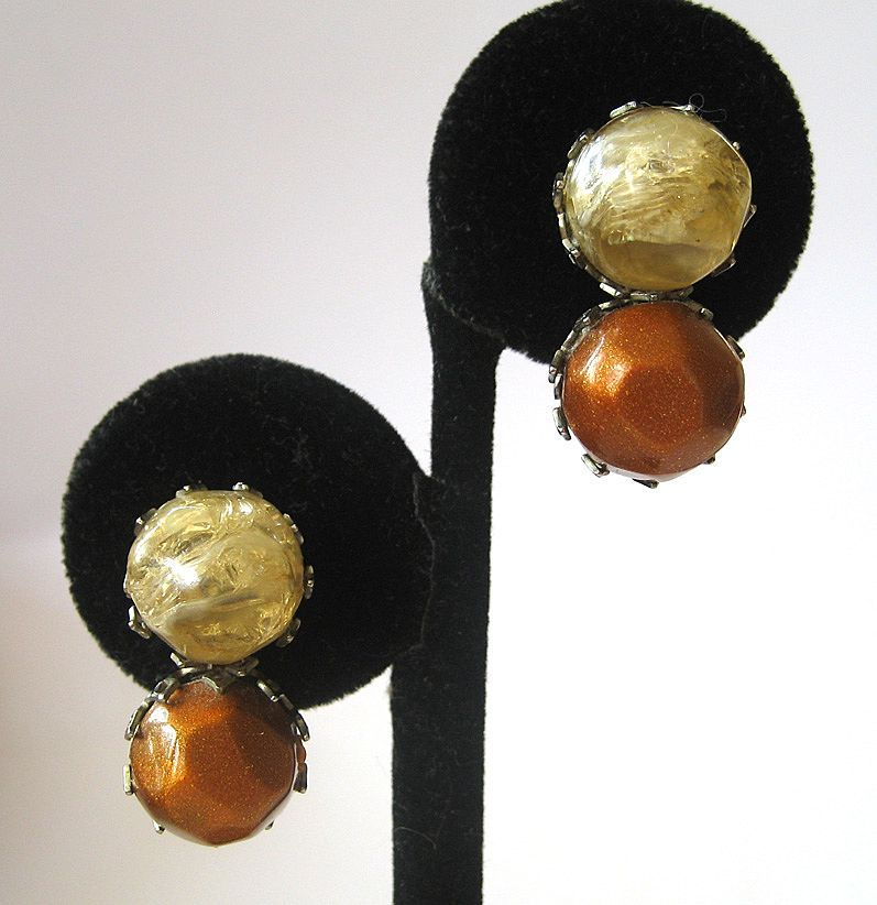 Dalsheim Bronze and Beige Double Ball Earrings