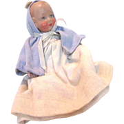 "Small 6.5"" Baby Doll, hard plastic head and arms with cloth body"