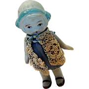 """Vintage Bisque small doll 3 1/2"""" tall"""