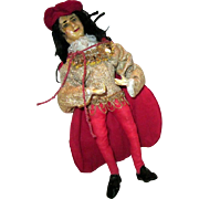 Old King or Jester wax and cloth Doll