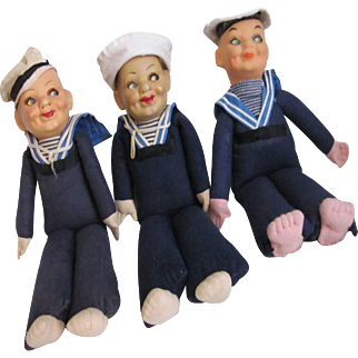 3 Norah Wellings Sailor Boy Dolls from vintage cruise lines