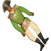 Vintage Wood Hand Carved Solider Jumping Jack