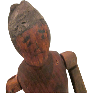 Old Hand Carved Wooden Jointed Man