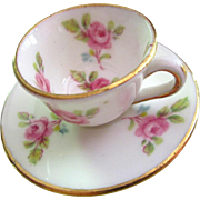 Tiny doll Cup and Saucer: England with pink roses