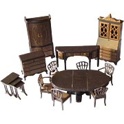 Vintage Plastic 2 tone Brown Doll House Furniture
