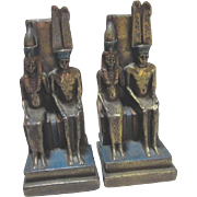 "Egyptian Royalty Bronze Clad Bookends 7.25"" Tall Circa 1922"