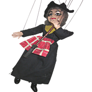 Vintage Witch Ventriloquist Marionette by Hazelle with Airplane Control