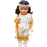 Vintage composition doll dressed in Indian attire