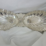 "Antique Sterling Silver Footed 12"" (30.48cm) Double Shell Dish or Bowl"