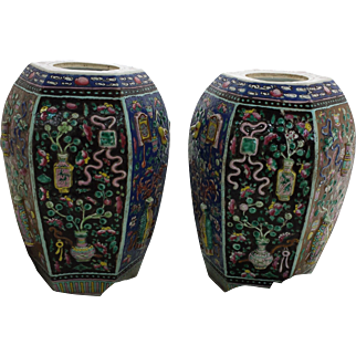 Pair of Mirror Image 19th Century Chinese Large Vases, Precious objects in Relief