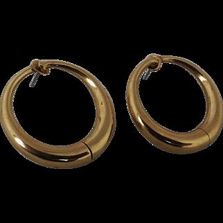 Unusual Sloan and Co 14K Gold Large Hoop Earrings