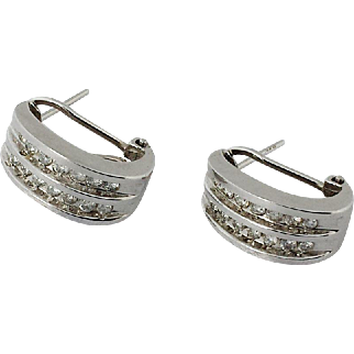 14k White Gold and Channel set Diamond Omega Back Pierced Earrings