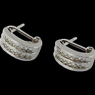 14k White Gold and Channel set Diamond Omega Back Pierced Earrings