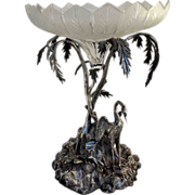 Antique Silver Plated Egret Palm Tree Compote Figural