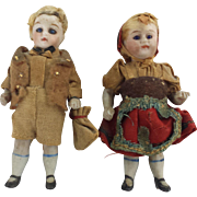 "Pair of 3"" Antique Bisque , glass eyed Boy and Girl French Dolls"