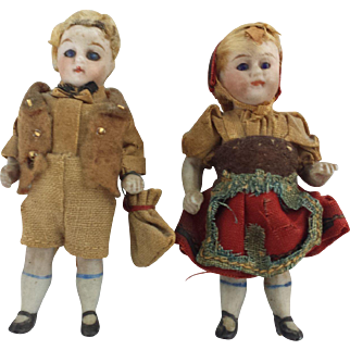 """Pair of 3"""" Antique Bisque , glass eyed Boy and Girl French Dolls"""