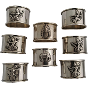 Set of 8 Heavy Sterling Silver Thai Napkin Rings