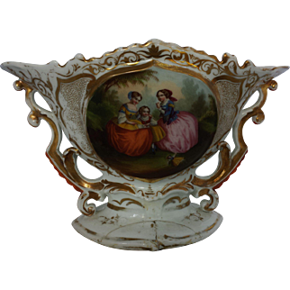 Antique French Large Porcelain Centerpiece Children playing with Doll