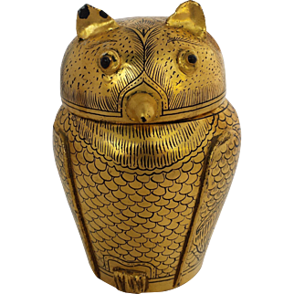 Vintage Large Burmese Gold and Black Lacquerware Horned Owl
