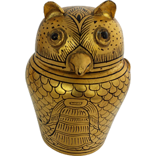 Vintage Burmese Gold and Black Lacquerware Horned Owl Box