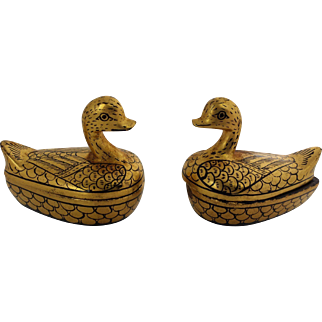 Pair of Vintage Burmese Black and Gold Lacquerware Duck Boxes
