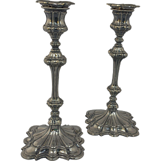 "1849 Elkington 10"" Candlesticks (signed)"