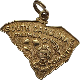 Heavy 14k Gold Charm of the State of South Carolina