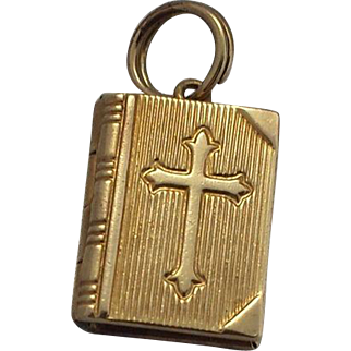 14k Gold Prayer Book (Bible) Mechanical Charm Lord's Prayer
