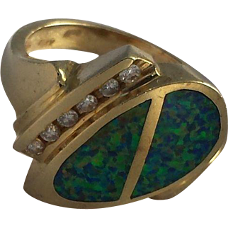 Modernist Opal and Diamond 14k Gold Ring