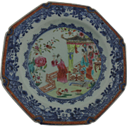 18th Century Chinese Export Mandarin Octagonal Plate with Underglaze Blue Border