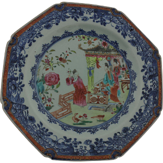 18th Century Chinese Export Mandarin Octagonal Plate with Underglaze Blue Border