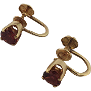 Vintage 14k and Garnet Screw Back Earrings