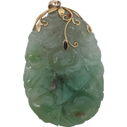 c.1900 Chinese Large Jade / Jadeite Pendant with 14k Vines and Bale