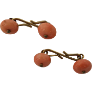 Antique Coral Cufflinks or Buttons